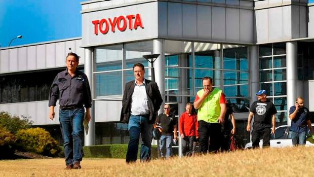 AMWU officials Steve Dargavel and Dave Smith leave talks to speak to the media after Toyota announced the closure of the ...