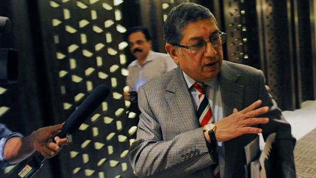 International Cricket Council chairman N. Srinivasan of India gestures after attending a board meeting in Singapore on ...