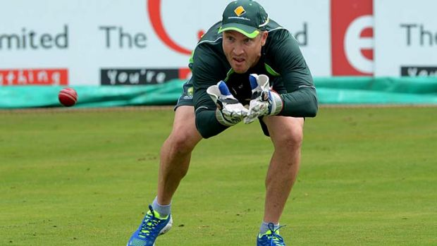 Brad Haddin trains at Centurion Park on Monday.