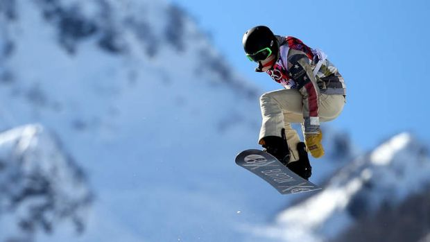 Shaun White during a training session at Rosa Khutor Extreme Park.