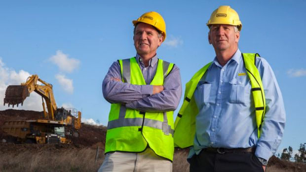 Joe and Dennis Wagner at their airport construction site at Toowoomba. Their brother John says there is no 'rocket ...
