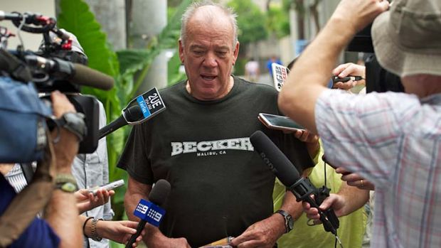Mike Willesee outside the hotel Schapelle Corby is staying at.