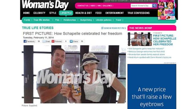 How the picture, which Mercedes Corby says she took, appeared on the Woman's Day website.