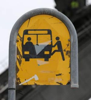 An ageing bus sign.