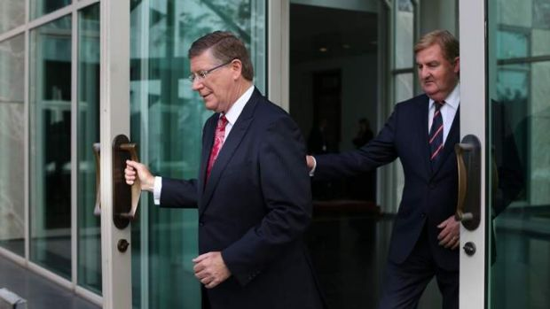 Premier Denis Napthine and Deputy Premier Peter Ryan after their meeting with Prime Minister Tony Abbott.
