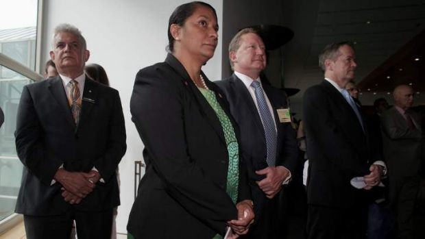 MP Ken Wyatt, Senator Nova Peris, Andrew Forrest and Opposition Leader Bill Shorten attend a Closing the Gap breakfast ...