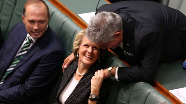 MP Ken Wyatt and Foreign Minister Julie Bishop talk prior to Prime Minister Tony Abbott delivering the Closing the Gap ...
