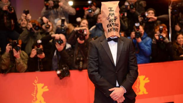US actor Shia LaBeouf arrives on the red carpet for the screening of the film <i>Nymphomaniac</i> in Berlin.