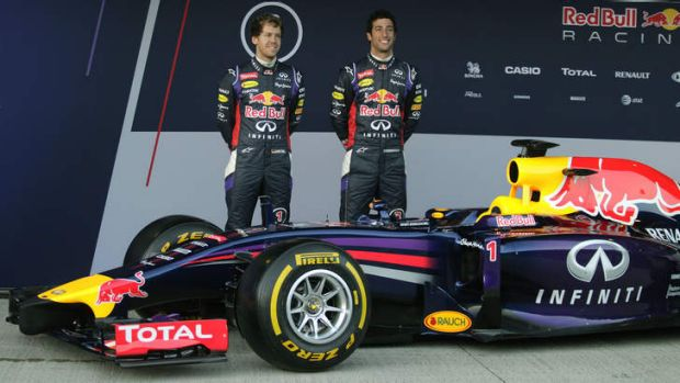 Sebastian Vettel and Daniel Ricciardo attend the launch of their new RB10 car last month.