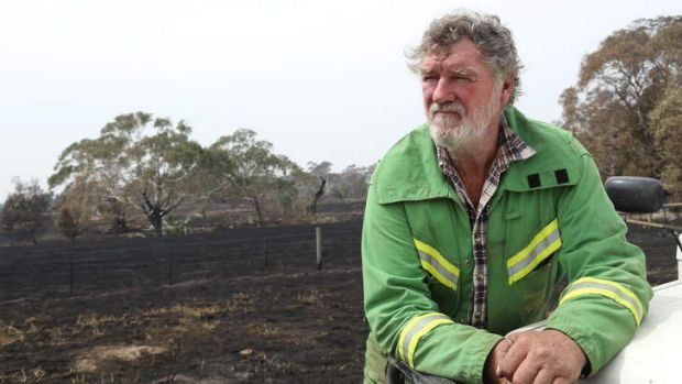 Philip Kenyon at his son's fire-damaged property in Willowmavin, west of Kilmore.