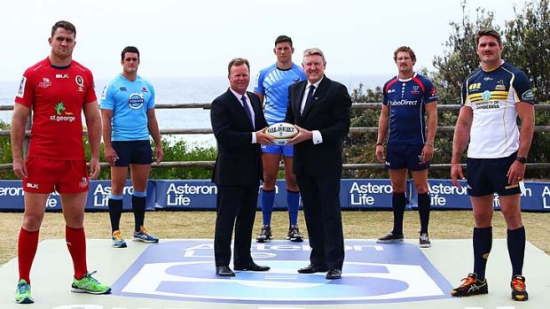 Simply super: ARU boss Bill Pulver (third from left) and Jordan Hawke from sponsor Asteron Life at the rugby season launch.