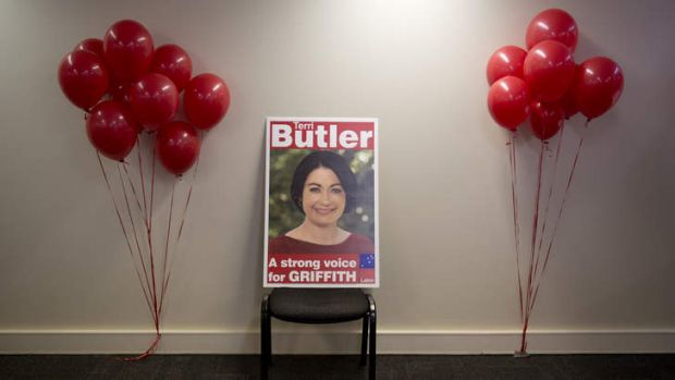 Signage of Labor candidate Terri Butler after ballots closed in the 2014 Federal By-election for the seat of Griffith in ...