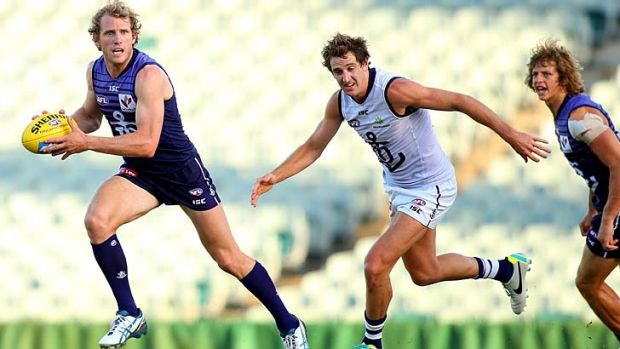 Running man: David Mundy breaks clear during the Dockers' intraclub match on Tuesday.