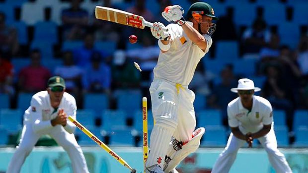 David Warner has his stumps uprooted by Dale Steyn (not in pic).
