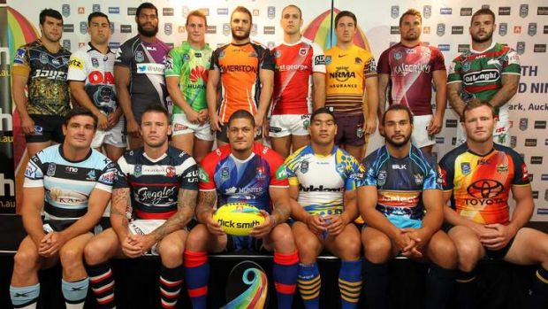 Odd man out ... Luke Bateman (back row, fourth from left) at the Auckland Nines launch.