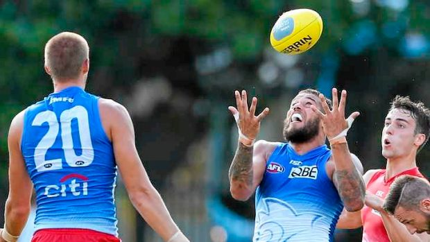"Hitout: Lance ""Buddy"" Franklin takes a mark in a Sydney Swans intra club match."