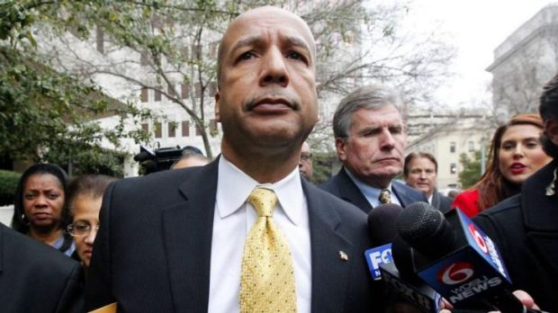 Former New Orleans Mayor Ray Nagin leaves the courthouse after being found guilty on graft charges in New Orleans, Louisiana.