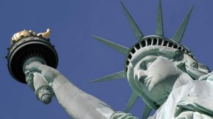 The US was the third democratic empire and was  given its iconic statue by France.