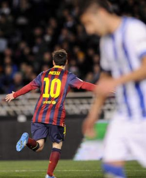 Barcelona's Lionel Messi celebrates his goal against Real Sociedad.