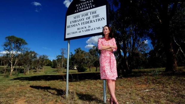 Gai Brodtmann on a vacant block of land reserved for a embassy off Forster Crescent.