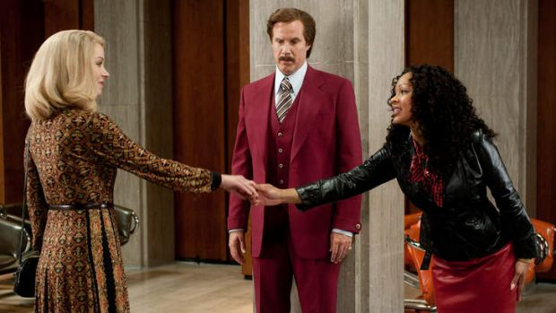 <i>Anchorman 2</i> (left to right) Christina Applegate is Veronica Corningstone, Will Ferrell is Ron Burgundy.