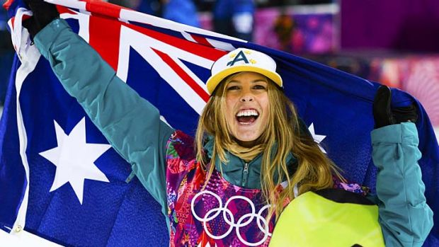Bringing home the hardware: Torah Bright celebrates after winning silver at Sochi.