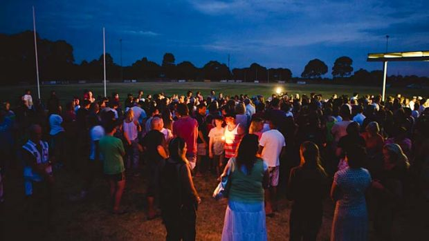 Mourners at the candlelight vigil for Luke Batty.