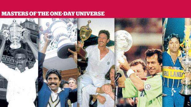 World Cup winning skippers (left to right): Clive Lloyd in 1975, Kapil Dev in 1983, Allan Border in 1987, Imran Khan in ...