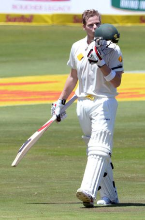 Steve Smith celebrates notching his century against South Africa.