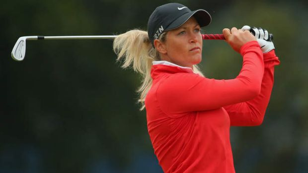 Suzann Pettersen of Norway leads the tournament by one shot.