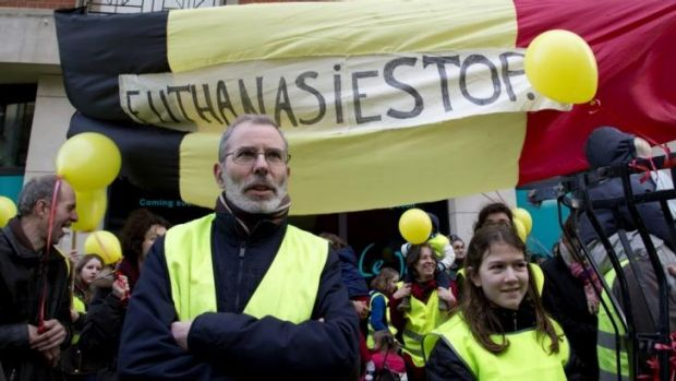 Anti-euthanasia protestors demonstrate in Brussels.