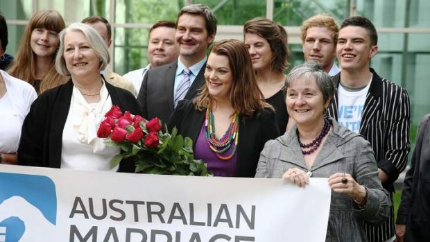 Senators Sue Boyce (Liberal), Sarah Hanson-Young (Greens) and Claire Moore (Labor) launching a campaign on marriage ...