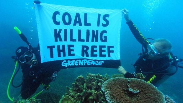 Activists dive for an underwater protest in the Great Barrier Reef.