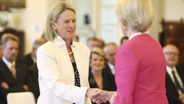 Senator Fiona Nash is sworn in as Assistant minister for Health at Government House in Canberra. Her former chief of ...