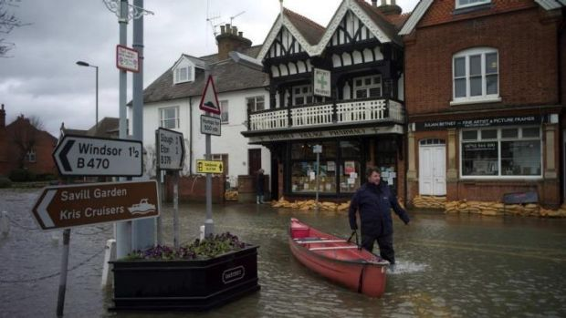 Flooded: The central square in the village of Datchet in Berkshire, southern England.