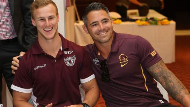 Daly Cherry Evans and Corey Parker during the Auckland Nines breakfast.