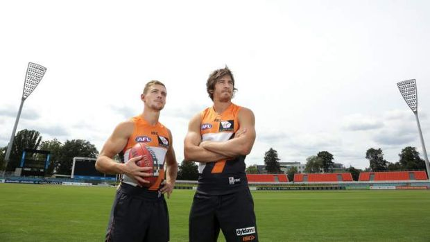 Greater Western Sydney players Devon Smith and Dylan Addison at Manuka Oval on Friday.