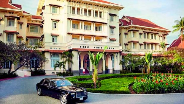 The luxury Raffles Hotel Le Royal, in Phnom Penh, where Gina Rinehart has hosted the girls for extravagent dinners.
