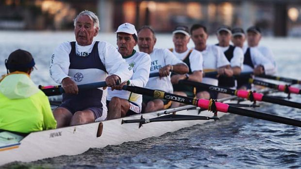 Members of the Ancient Mariners rowing club training in Iron Cove. The over-65 age bracket is one of the fastest growing ...