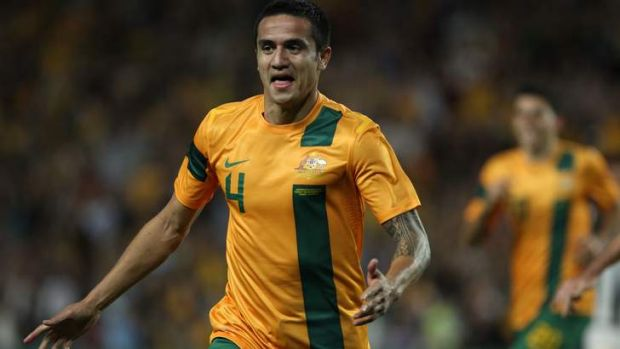 Bright spark: Tim Cahill celebrates after scoring against Costa Rica last year.