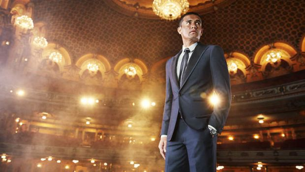 Man about town: Tim Cahill models his line of suits manufactured by Shoreditch, London Suits.