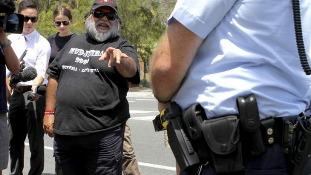 High profile Aboriginal activist Sam Watson was unhappy police turned up with tasers at a protest rally against their use.