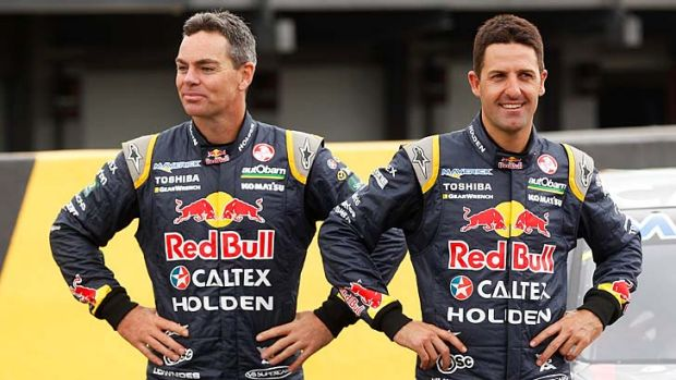 Teammates: Craig Lowndes (left) and Jamie Whincup.