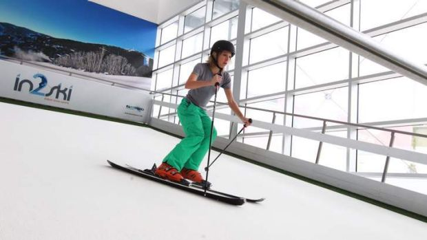 Indoor alpine: Daisy Dumas takes to the ''slopes'' at Alexandria's snow sports centre, which has had a Winter Olympics rush.