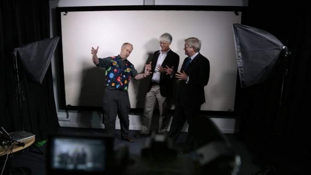 From left, Dr Paul Francis, Dr McComas Taylor and Professor Brian Schmidt film a video for an ANU MOOC.