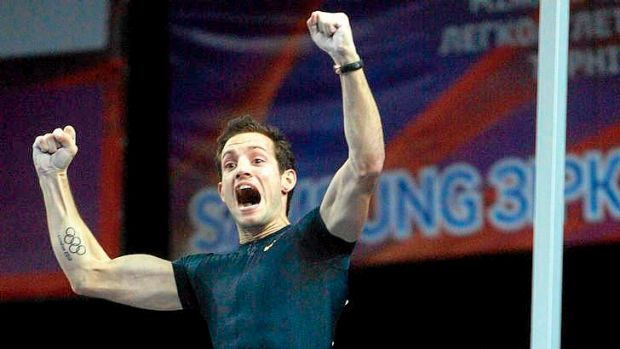 Record: France's Renaud Lavillenie reacts justs after breaking Sergei Bubka's 21-year-old indoor pole vault world record.