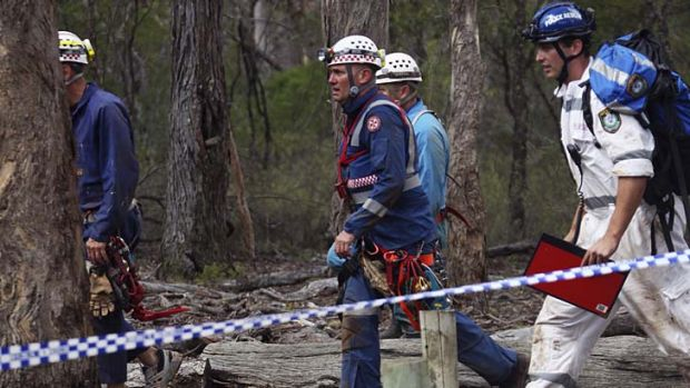 Job done: rescuers leave after freeing the three men.