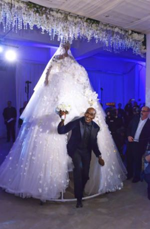 Preston Bailey emerged from a giant bridal gown at his wedding.