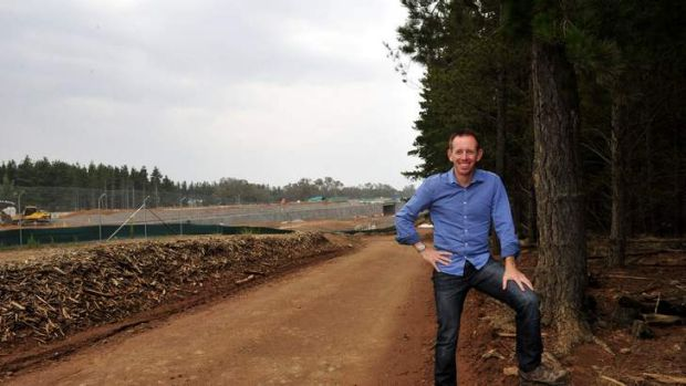 Shane Rattenbury at the construction of the Majura Parkway that has cut the popular Majura Pines recreation area in half.
