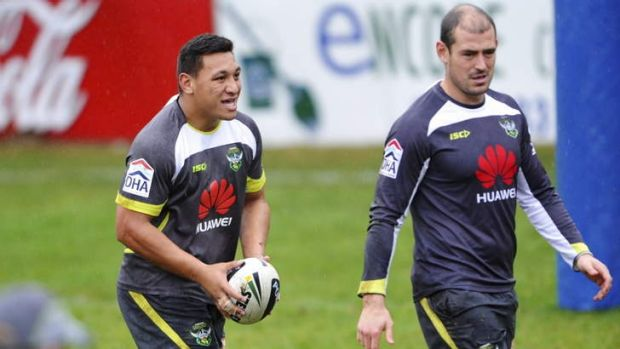 Josh Papalii, left, and captain Terry Campese are set to join forces on the right-hand side for the Raiders' attack.